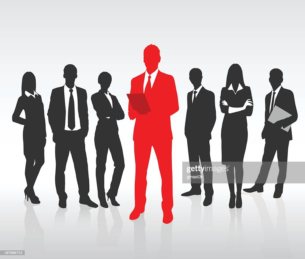 Red Businessman Silhouette, Black Business People Group Team Concept
