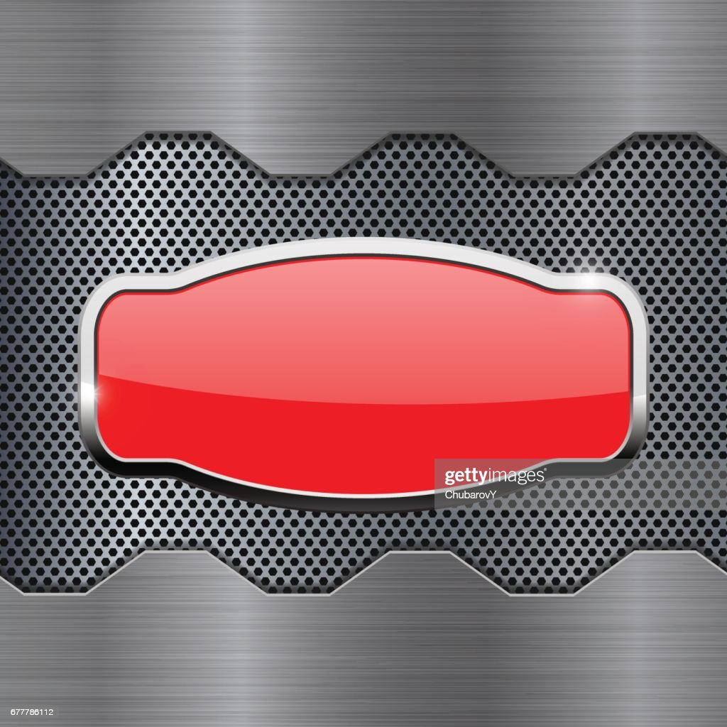 Red button on metal background