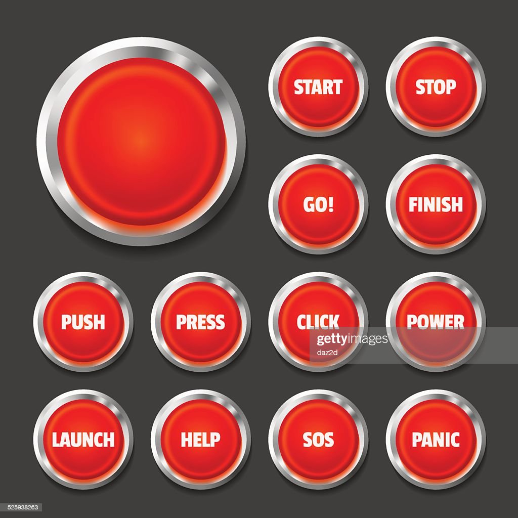 Red Button Set On Black