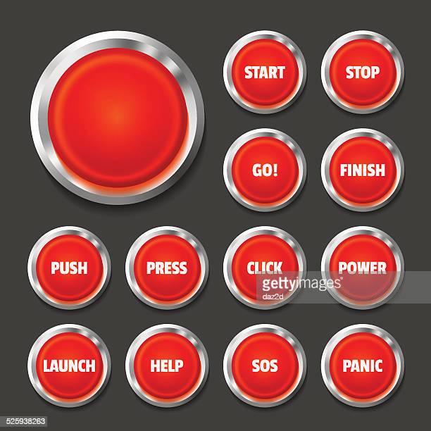 赤色ボタンのセットにはブラック - sos点のイラスト素材/クリップアート素材/マンガ素材/アイコン素材