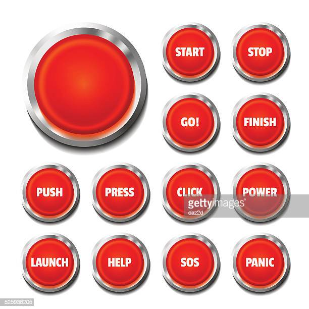 Red Button Set On White