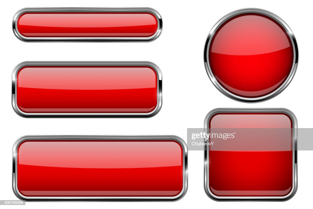 Red buttons set. Glass icons with metal frame