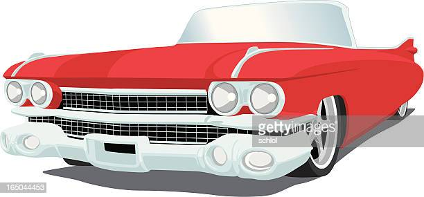 red caddy - 1959 - 1950 1959 stock illustrations