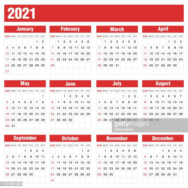 illustrations, cliparts, dessins animés et icônes de calendrier rouge 2021 sur l'illustration de vecteur de stock de fond blanc - mois de mai