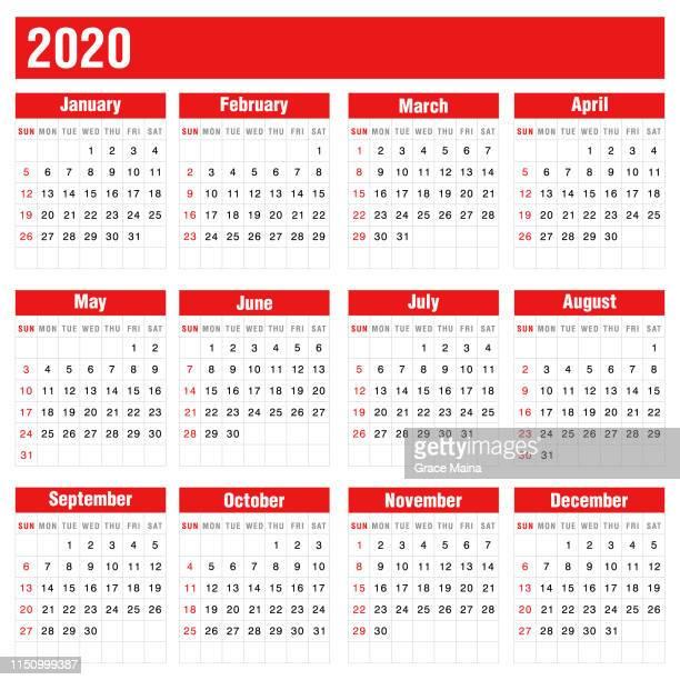 2020 red calendar on white background - 2020 stock illustrations