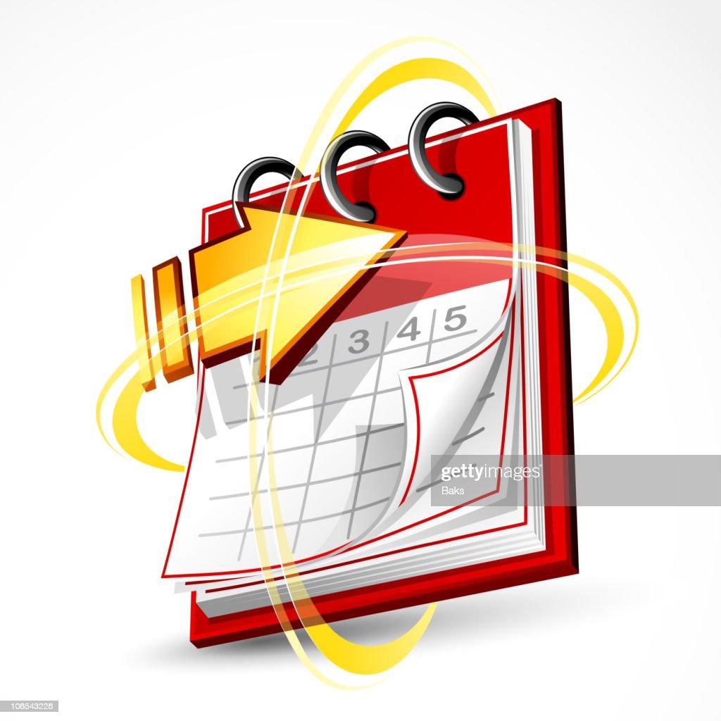 Red calendar with an arrow
