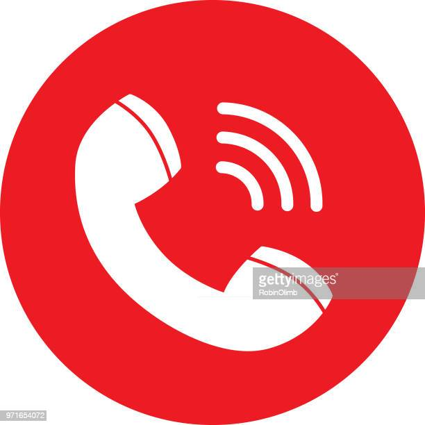 red call icon - telephone stock illustrations