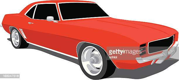 red camaro - 1969 - vehicle hood stock illustrations, clip art, cartoons, & icons