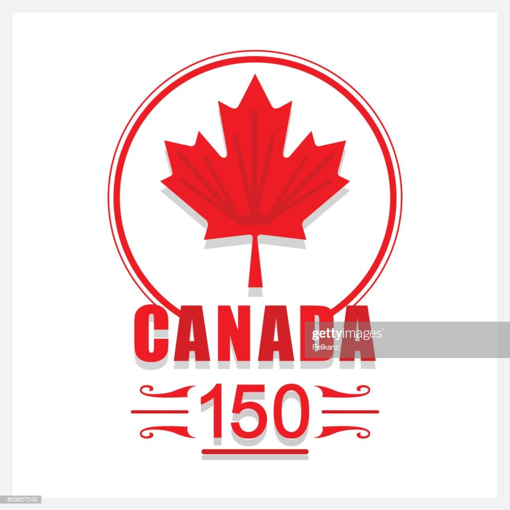 Red Canada 150 maple leaf emblem icon on white background