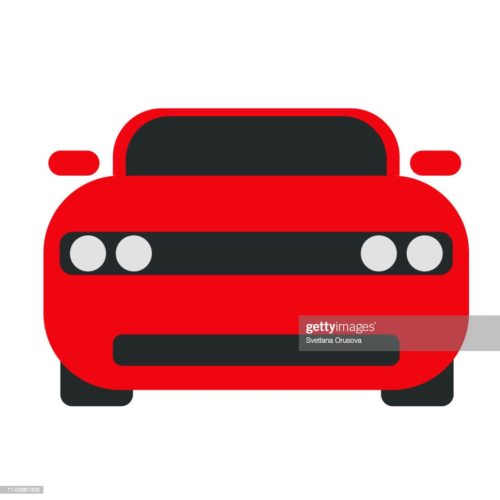 Red car flat illustration on white