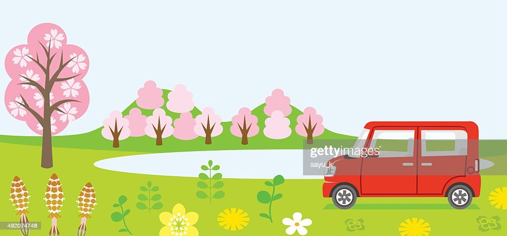 Red Car in spring nature