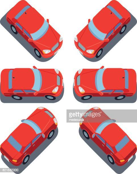 red car - sedan stock illustrations, clip art, cartoons, & icons