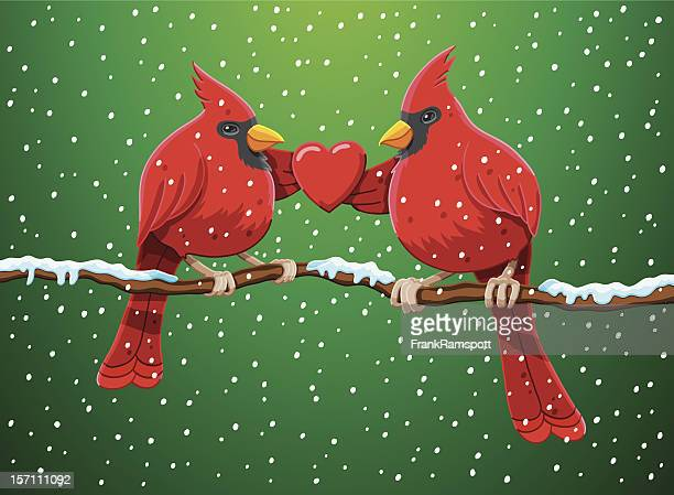 カーディナルの中心の赤のクリスマスバードペア