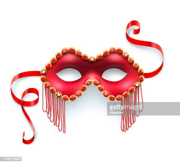 red carnival mask - mask disguise stock illustrations