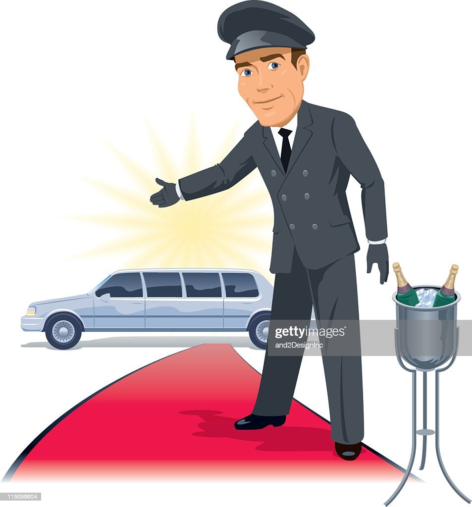 Red carpet and limo drawing with driver : stock illustration