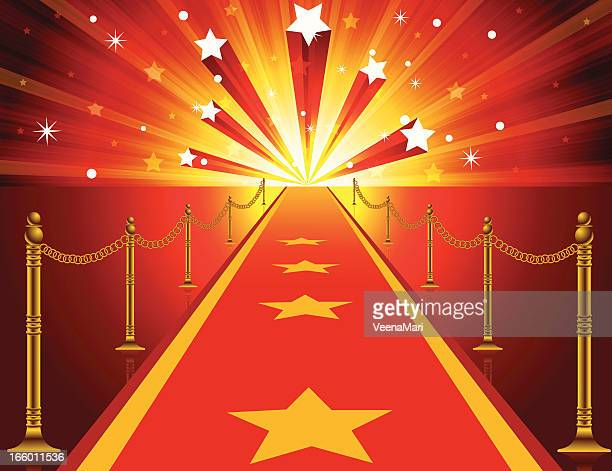 stockillustraties, clipart, cartoons en iconen met red carpet background - modeshow