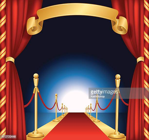 Red Carpet Background with Curtains and Banner