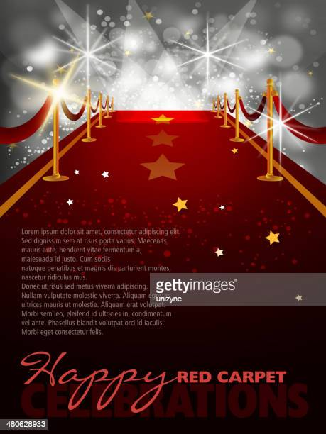 Red Carpet Background with Paparazzi Flashes