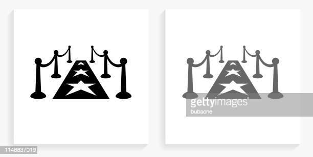 illustrations, cliparts, dessins animés et icônes de icône de carré noir et blanc de tapis rouge - tapis rouge