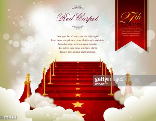 red carpet card with defocused background - red carpet event stock illustrations