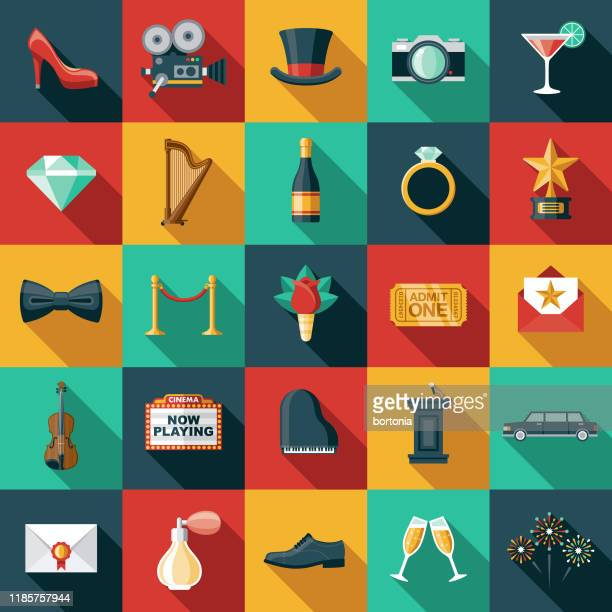 red carpet event icon set - grand piano film stock illustrations