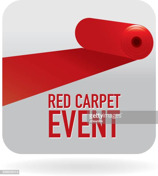 Red Carpet  Event  icon with white red text design