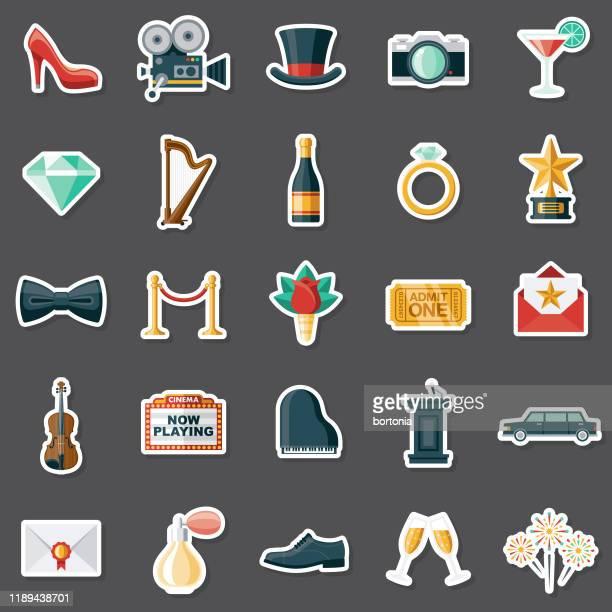 ilustraciones, imágenes clip art, dibujos animados e iconos de stock de red carpet event sticker set - gala