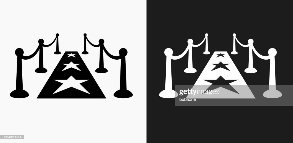 Red Carpet Icon on Black and White Vector Backgrounds : stock illustration