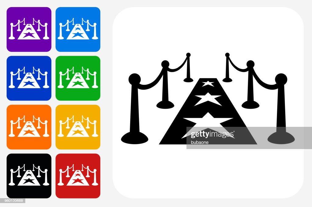 Roten Teppich Symbol Quadrat-Taste Set : Stock-Illustration
