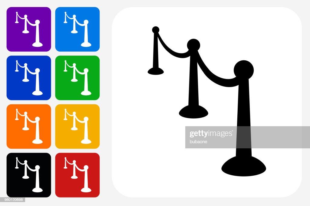 Red Carpet Icon Square Button Set : Stock Illustration