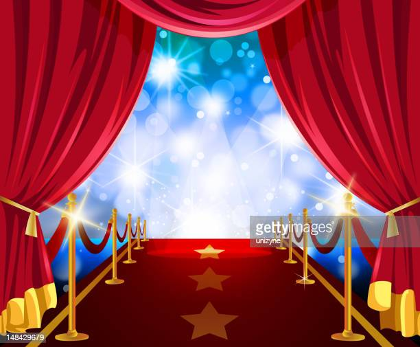 Red Carpet in bluish flashy Lights with Curtain