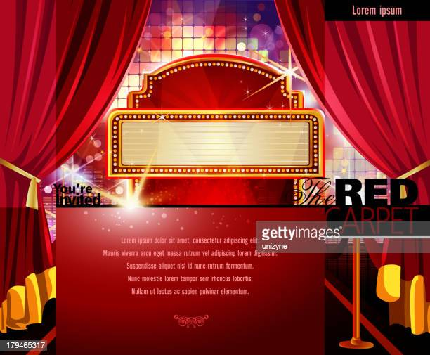 Red Carpet Invitation with Marquee Display and Screen
