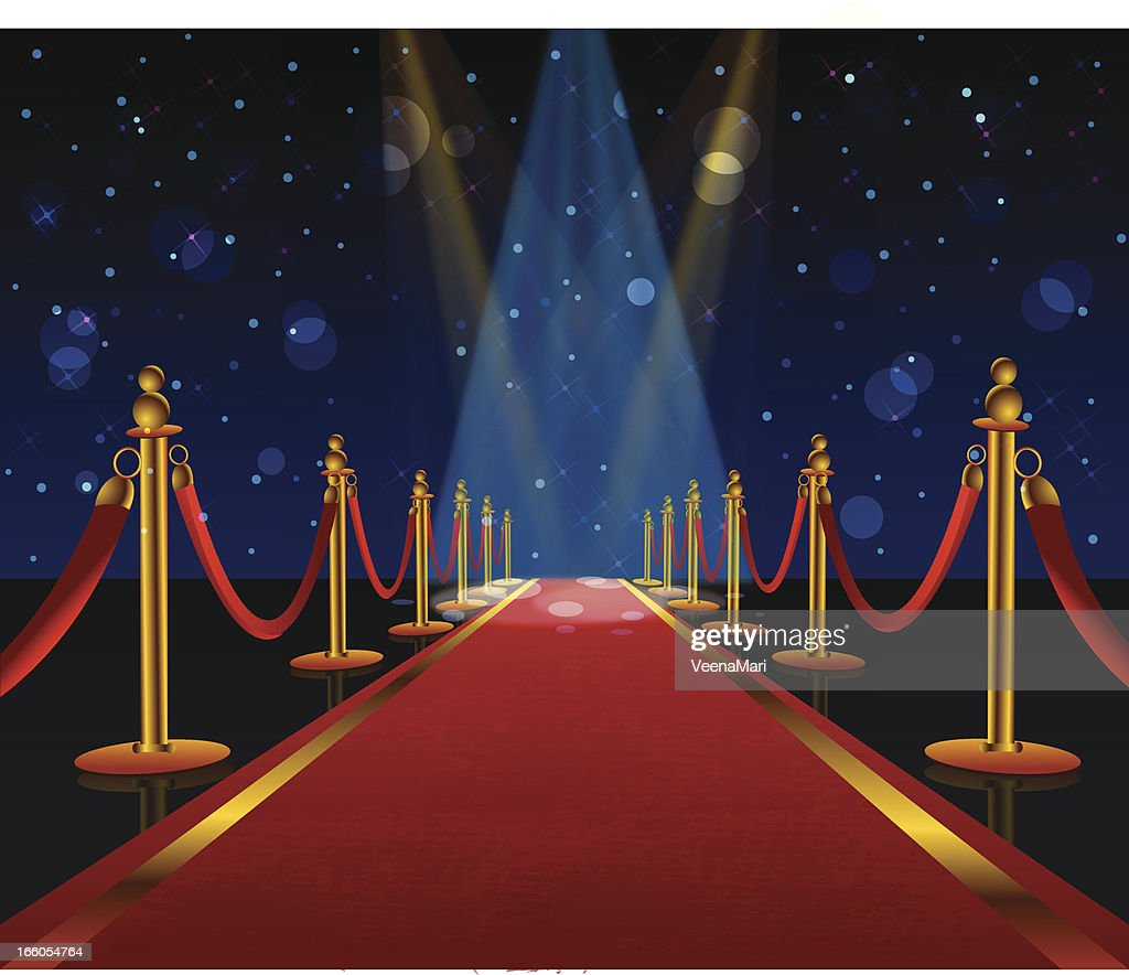 A red carpet is stretching into the distance  : stock illustration