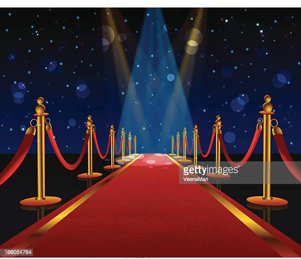 a red carpet is stretching into the distance  - red carpet event stock illustrations