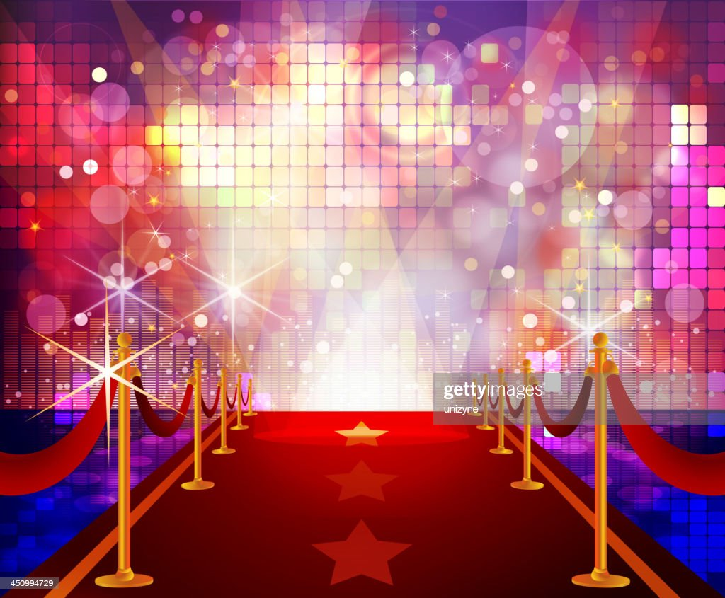 Red carpet lighted by a flashy disco background
