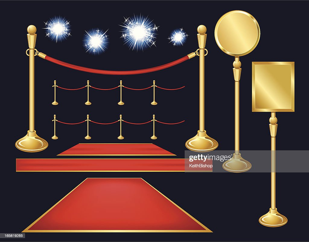 red carpet paparazzi velvet ropes stanchion sign background high-res vector graphic