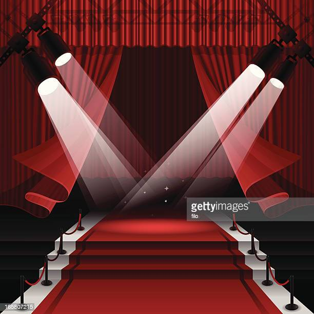 red carpet stage - lighting equipment stock illustrations