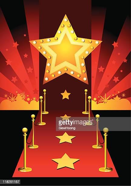 red carpet star - entrance stock illustrations, clip art, cartoons, & icons