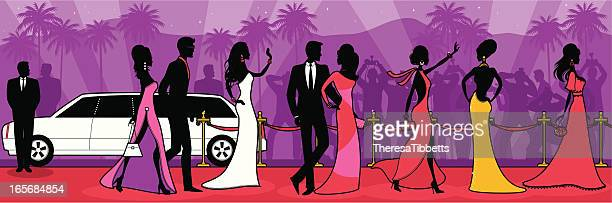 red carpet - celebrities stock illustrations, clip art, cartoons, & icons