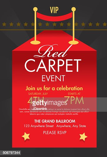 Red Carpet Vip Event Template Design On Sunburst ...