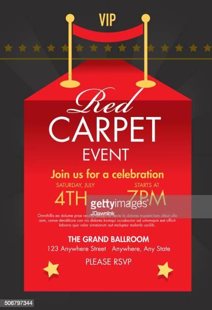Red carpet VIP event  template design on sunburst background