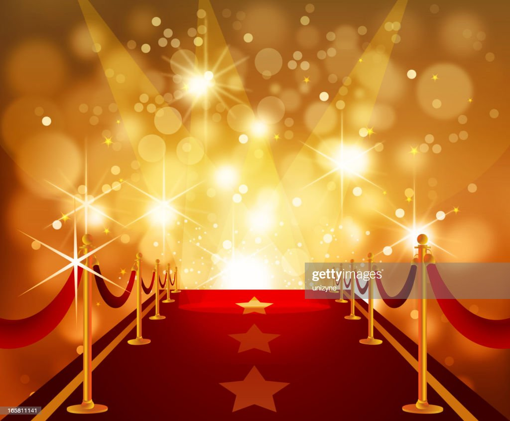 Red Carpet with Bright Flashy Background : stock illustration