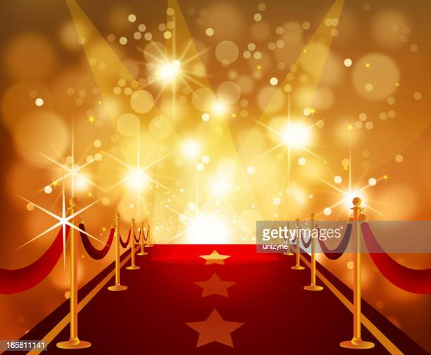 red carpet with bright flashy background - celebrities stock illustrations