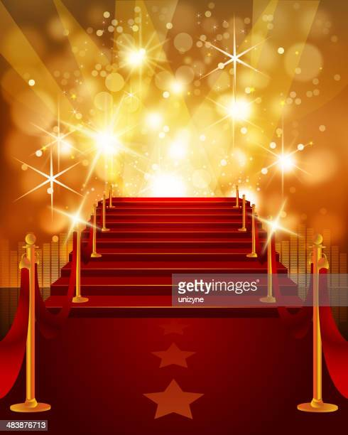 red carpet with bright yellow background - red carpet event stock illustrations