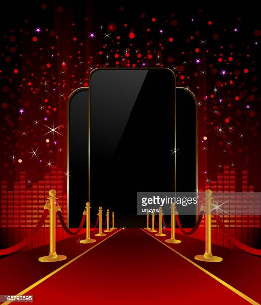 red carpet with elegant background - red carpet event stock illustrations