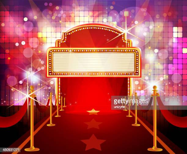 red carpet with flashy disco background - tempo stock illustrations
