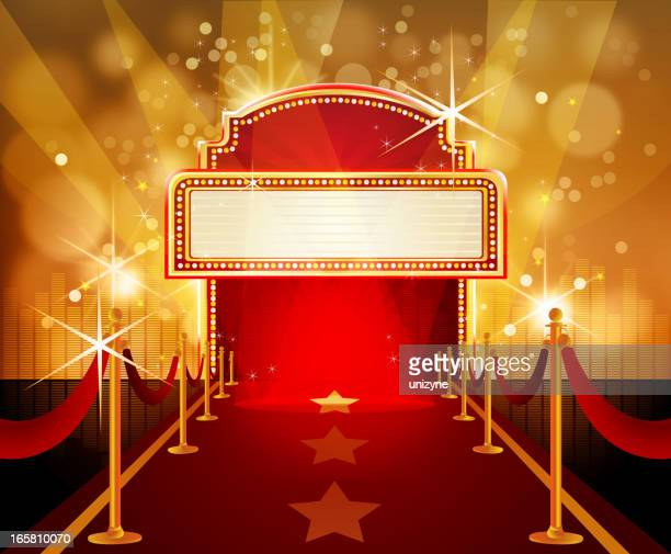 red carpet with marquee in flashy background - red carpet event stock illustrations