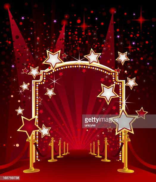 red carpet with marquee stars - fame stock illustrations