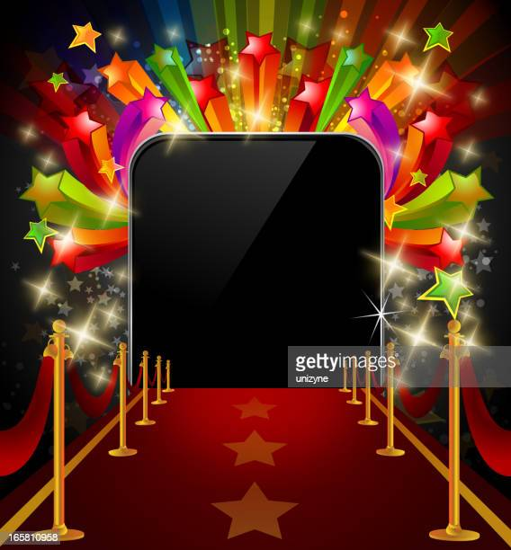 Red Carpet with Shiny Colorful Stars and Flashes