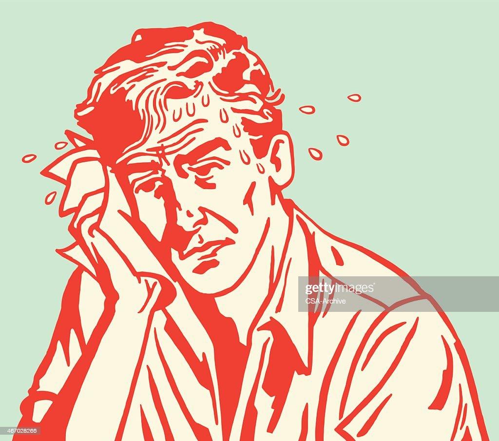Red carton outline of sweaty sad man on blue background : stock illustration